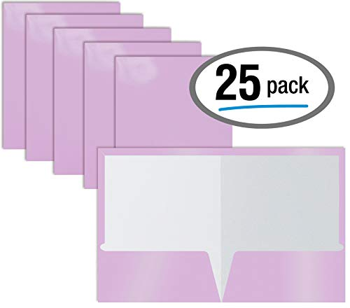 2 Pocket Glossy Laminated Lavender Paper Folders, Box of 25, Letter Size, Lavender Light Purple Paper Portfolios by Better Office Products, 25 Pack