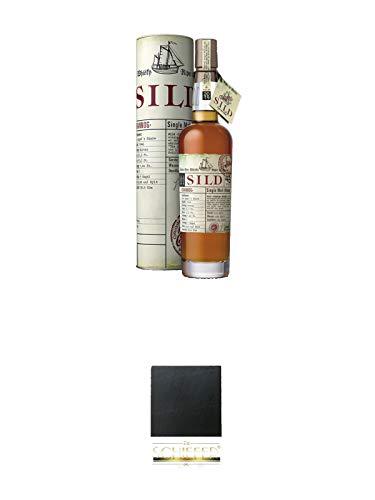 Sild Crannog Single Malt Whisky streng limitiert 2019 0,7 Liter + Schiefer Glasuntersetzer eckig ca. 9,5 cm Durchmesser