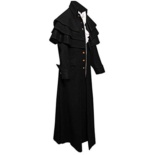 Herren Steampunk Jacke Gothic Mantel Langarm Elegant Trenchcoat Lang Parka mit Asymmetrisch Parka Trenchcoat Karneval Uniform