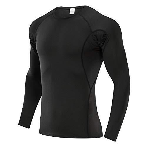 SKYSPER Camiseta de Compresión Manga Larga para Hombre Ropa Interior Deportiva Deportes Camisetas de Fitness Transpirable Secado Rápido para Running Fitness Entrenamiento Yoga Ciclismo