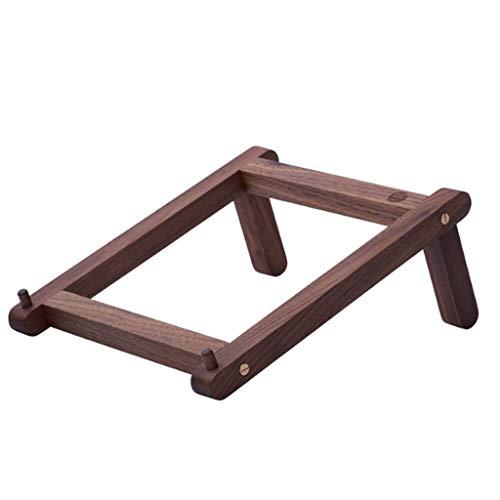 QQAA Draagbare laptopstandaard, eenvoudig massief hout, afneembaar, eenvoudig op te bergen houten koelbasis, geschikt voor kantoor/familie/slaapzalen