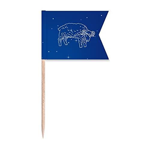 Star Universe Widder Sternbild Zahnstocher Flaggen Markierung für Party Kuchen Lebensmittel Käseplatte