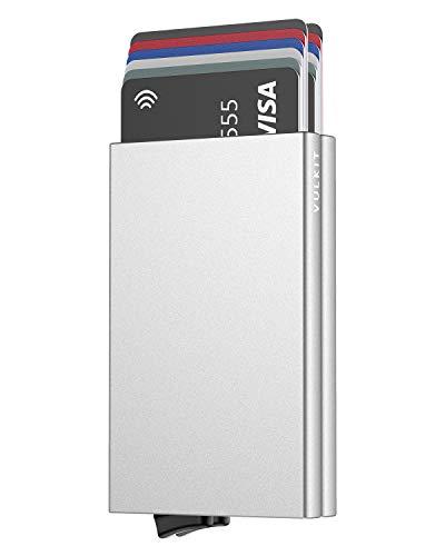 VULKIT Alpha Tarjetero Doble Caja de Metalico RFID Bloqueo Tarjeteros para Tarjetas de Credito Hombre o Mujer hasta 10 Tarjetas Plata
