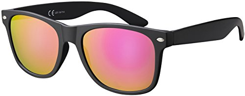 La Optica B.L.M. Damen Sonnenbrille UV400 CAT 3 Frauen Retro Vintage - Matt Schwarz (Gläser: Pink/Rosa Verspiegelt)