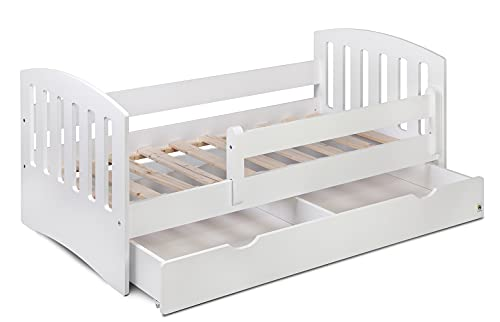YappyLux - Cama de 160 cm con cajón - Cama individual clásica - para niños y niños pequeños - Tamaño 160 x 80, blanco, cajón no, colchón