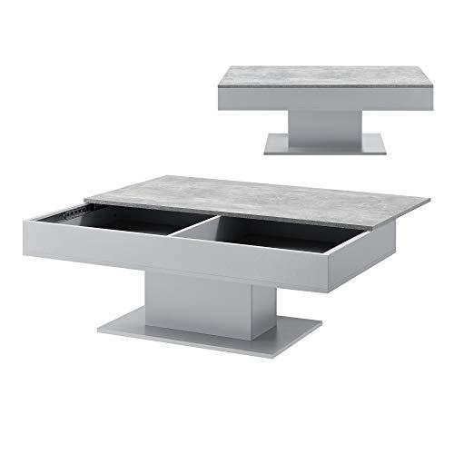 [en.casa] Couchtisch mit 2 Staufächern unter Schiebeplatte Wohnzimmertisch mit Truhefunktion Kaffeetisch Sofatisch Beton-Optik/Grau