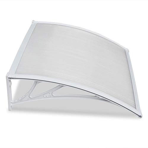 Yaheetech Outdoor Awning Canopy Window Garden Canopy Patio Porch Awning Rain Shelter PC Cover Front Back Door Cover, White, 120X76cm