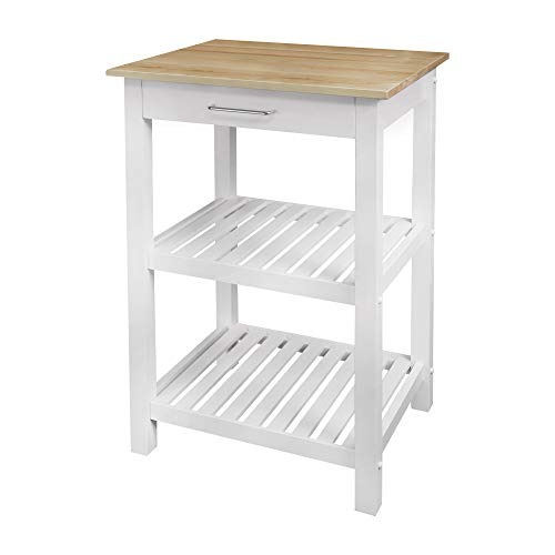"Casual Home Sunrise (Small) with Solid Maple Top Kitchen Island, 22.75""W, Natural&White"