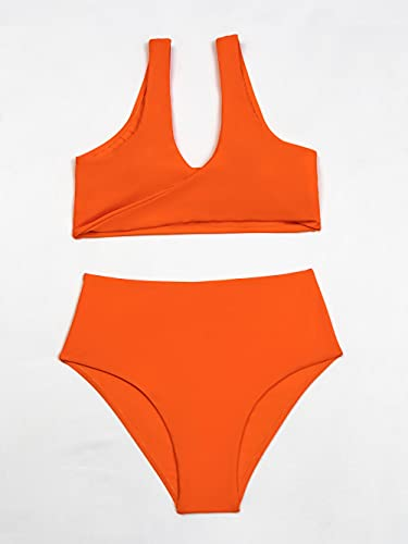 Fuduoduo Cuello Halter Traje De BañO De,Bikini de Mujer de Color Liso Dividido-Orange_XL #,Bikini Elegante Traje De BañO