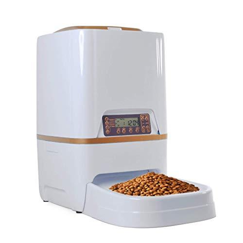 QBYLYF Futterautomat automatische Fütterung 6L Futterautomat for Katzenhunde mit Diktiergerät und programmierbarem Timer (Color : Gold)