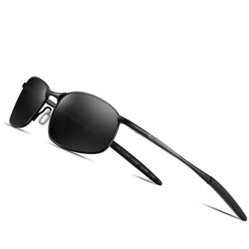 FEIDU Polarized Sport Mens Sunglasses HD Lens Metal Frame Driving Shades FD 9005 (Black/Black, 2.24)