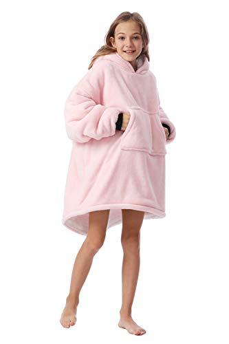 Original Blanket Sweatshirt for Kids,Double Layer,Super Soft Warm Cozy Wearable Hoodie for Teen Girls Boys Children, Novelty Blanket Hoodie,Reversible Pullover,Hood&Kangaroo Pocket,Light Pink