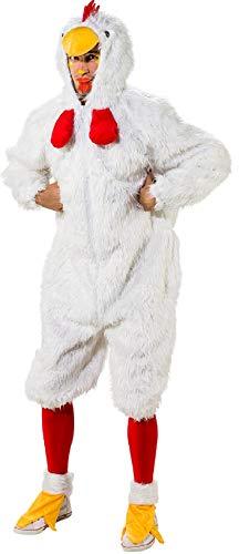 O7101-54-58 weiß Herren Huhn Kostüm Chicken Overall mit Fußstulpen Gr.54-58