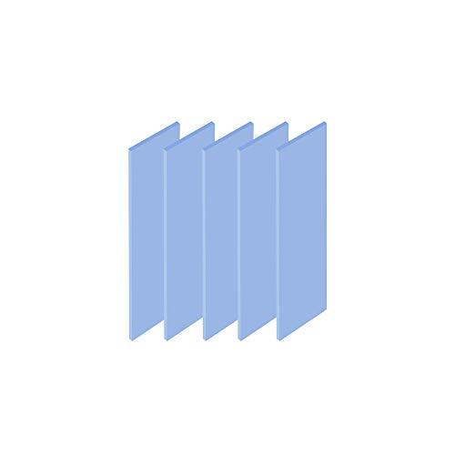 ADWITS Paquete de 5 20x67x1,5mm Almohadillas de Silicona termoconductoras con 6.0 W/MK de conductividad térmica, Suave, Seguro, fácil de aplicar para SSD CPU GPU LED IC Chipset Cooling -Azul