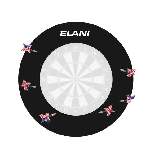 ELANI – Dartring für optimalen Schutz von Wand, Boden, Dartpfeil und Flight – passgenauer Schutzring für gängige Dartscheiben – Dartboard Surround inklusive Zwischenring und 6 Steeldarts