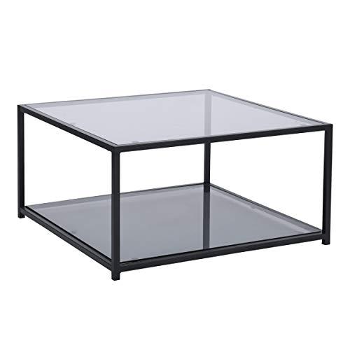 FURNITURE-R France - Tavolino da salotto rettangolare con piano in vetro, colore: grigio fumo, telaio nero, per soggiorno, sala di ricezione