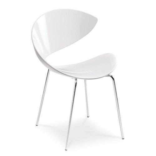 Midj Twist - Sedia in metallo color alluminio e seduta in plastica Hirek: Bianco.