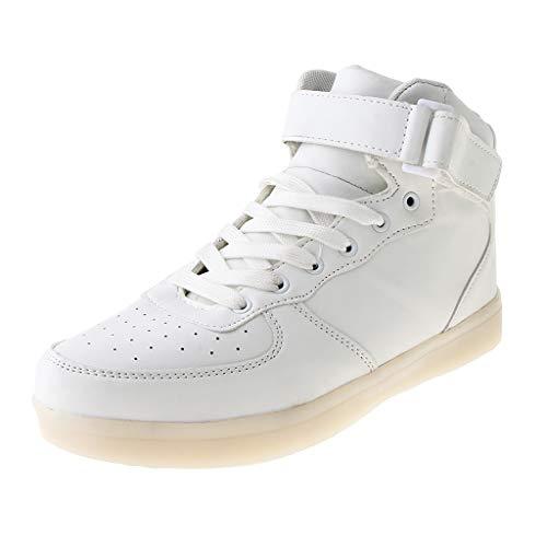 Baoblaze LED Chaussures Unisexe Homme Femme Lumineux Sports Baskets USB Charge LED Chaussures Lumière - Blanc, 42