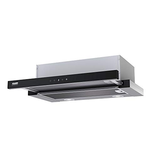 KRONA Steel/KAMILLA 600 Sensor Inox/Black/Unterbau Dunstabzughaube/Touch Steuerung/Schwarz Glas Panel/ECO - LED / 550 m³/h / 43 dB