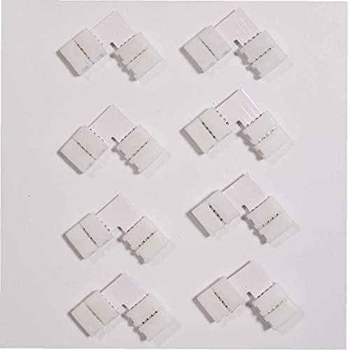 Kit de Conector de Tira de LED con Forma L Connector de 4 Pines LED Tira de extensión Cable de Silicona Accesorios de Clip de Sujetador 63pcs Accesorios