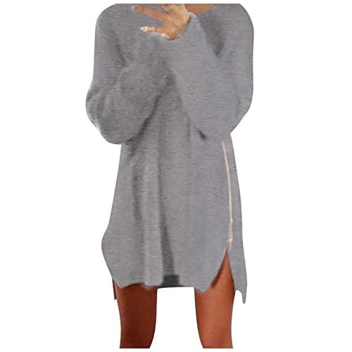 XUNN Vestito invernale da donna, girocollo, felpa monocromatica con cerniera laterale, comodo abito a maniche lunghe, grigio., XXL