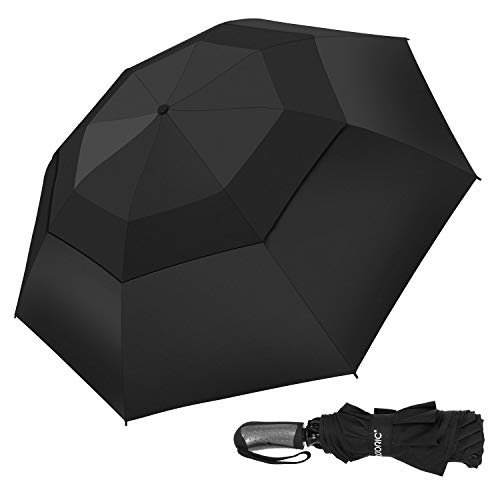 Umbrella Windproof, Compact Double Vented Folding Inverted Umbrella for Travel with Auto Open/Close Button