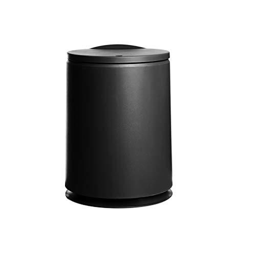 ZCX Tipo de Prensa for el hogar con Tapa Sala de Estar baño Aseo Cocina Dormitorio Basura Creativa Cubos de Basura (Color : Black, Size : A)