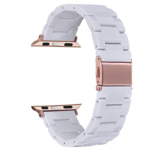 V-MORO Resin Strap Compatible with Apple Watch Band 38mm 40mm iWatch Series 5/4/3/2/1 with Stainless Steel...