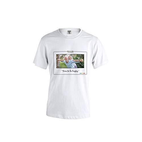 PROMO SHOP Camiseta Personalizada Hombre (Imagen y Texto Horizontal) Blanca · Manga Corta Talla XL · 100% Algodón · Impresión Directa (DTG) · Camisetas Personalizas Impresas Directamente sobre Tejido