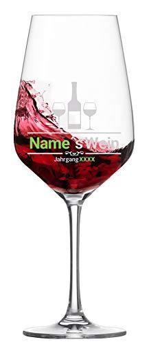 Rotweinglas mit Namensgravur und Gravur eines Geburtsjahres Mustermann's Wein - Edle Qualitätsgläser von Schott Zwiesel