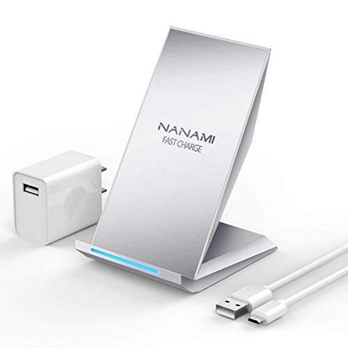 Fast Wireless Charger, NANAMI Qi Certified Charging Stand [with QC2.0 Adapter],7.5W Compatible iPhone SE/11/11 Pro/11 Pro Max/XS Max/XS/XR/X/8 Plus,10W for Samsung Galaxy S20/S10/S9/S8/S7/Note 10+/9/8