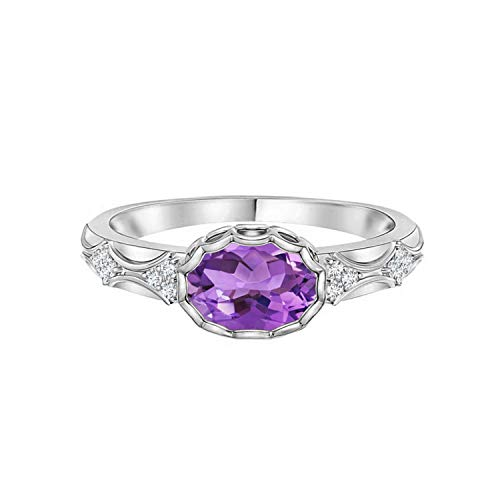 Shine Jewel Conjunto de Bisel Amatista Morada Ovalada Anillo Solitario de Plata 925 con Piedras Preciosas 1.0 CTW (17)