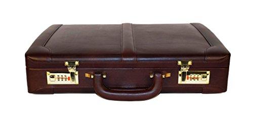 Premium Leather Attache Briefcase Dual Combination Lock - ClubbCart