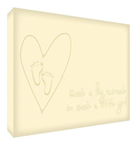 Feel Good Art Boîte en toile avec panneau avant massif pour chambre d'enfant Motif mignon 30 x 20 x 4 cm Crème, petit miracle dans cette petite fille