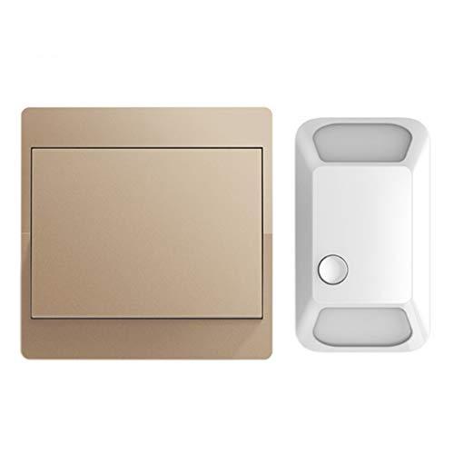 YCZDG Interruptor inalámbrico autoalimentado Control Remoto pulsador 110-220V Panel Inteligente de Pared del hogar Sin batería 1 2 pandillas 1 2 Controlador (Color : Gold)