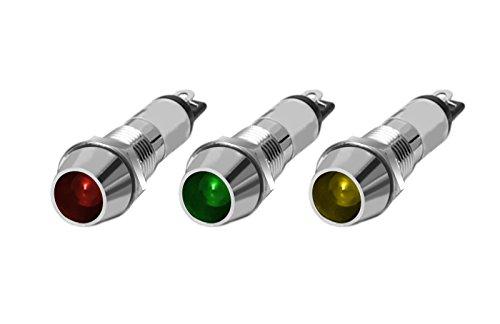 LED Kontrollleuchte 12V & 24V Leuchtmelder in 3 Farben und 2 Stafflungen (Grün, 24V / 10x)