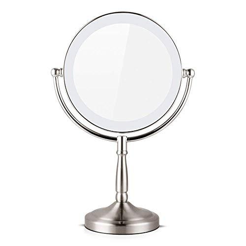 KMMK Espejo especial para maquillaje, espejos de maquillaje de pie de escritorio de doble cara con iluminación LED de 8 pulgadas Espejo de tocador giratorio con batería USB de aumento 1X Espejos de m