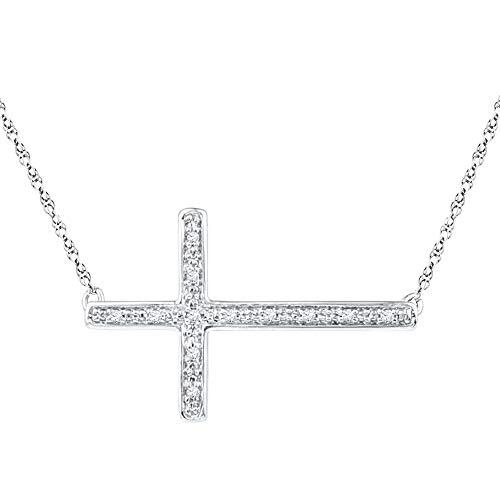 Collar de plata de ley 925 con colgante de cruz lateral de 0,25 quilates, 4 puntas