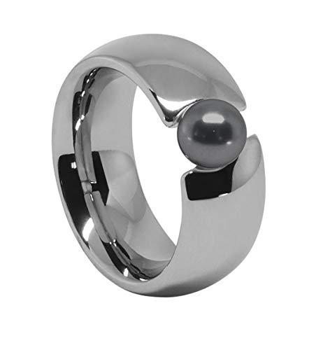 Heideman Ring Damen Perlschmuck aus Edelstahl Silber farbend poliert Damenring für Frauen mit Swarovski Perle 6mm Spannring Ohrringe Grau Gr.56 hr2321-3-12-56