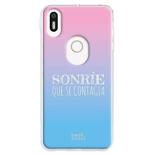 Funnytech Funda Silicona para BQ Aquaris X5 Plus [Gel Silicona Flexible, Diseño Exclusivo] Frase Sonrie Que se contagia Vers.1