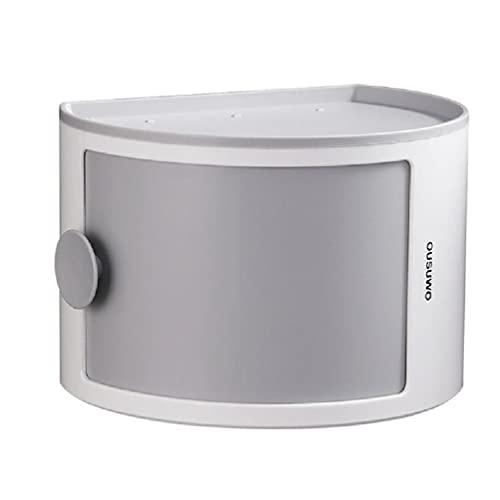 Soporte para dispensador de pañuelos de montaje en pared - Caja de almacenamiento de pañuelos semicírculo de 12L - Recipiente de toallitas de almacenamiento para baño doméstico