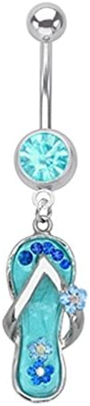 Blue Flip Flop Summer Sandle Dangle Belly Button Navel Ring Piercing bar Body Jewelry 14g