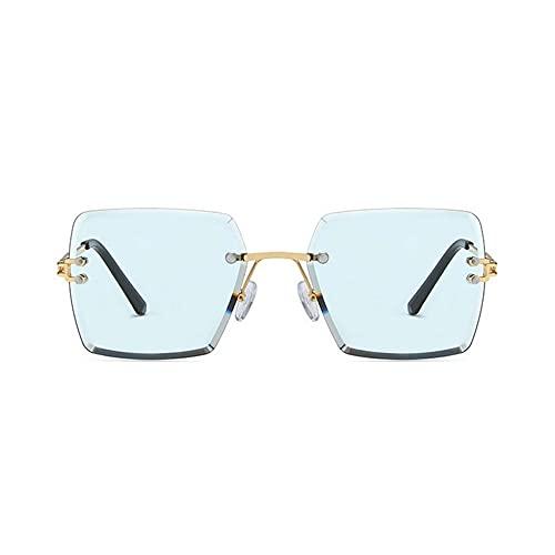 HAIGAFEW Gafas De Sol Cuadradas para Mujer Tonos Rosa Púrpuras para Mujer Gafas De Sol De Ojo De Gato Sin Montura Unisex Uv400 Proteger Los Ojos-Azul