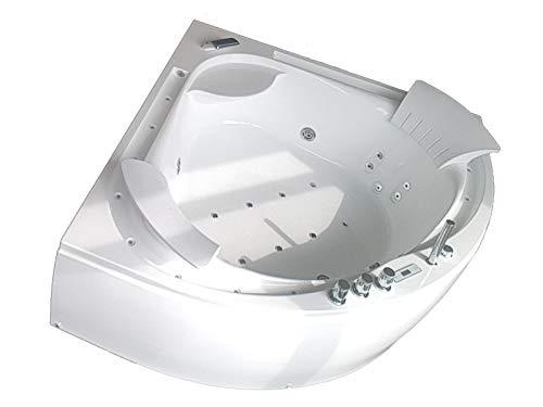 Baignoire balneo Ouest-balnéo baignoire angle 160cm x 160cm x 62cm (1 spot LED 7 couleurs, 22 jets massant, blance, 2 cascades...