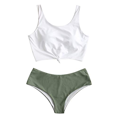 ZAFUL Women's Knotted Front Tankini Set High Waisted Bikini Scoop Neck Swimsuit Two Pieces Bathing Suit Green M