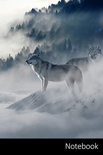 Notebook: Wolf, Lupi, Foresta, Wintry taccuino / agenda / quaderno delle annotazioni / diario / libro di scrittura / carnet / zibaldone - 6 x 9 ... x 22,86 cm), 110 pagine, superficie lucida.