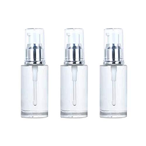 3pcs Pompe Vide Bouteille de Bouteilles cosmétiques Bouteille d'huile Essentielle Bouteilles vides Bouteille de Pompe Portable (Argent et Blanc 40 ML)