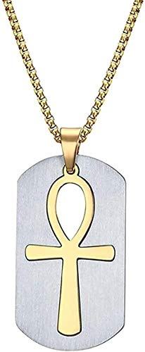 ZGYFJCH Co.,ltd Necklace Woman Necklace Necklace Men Egypt Cross Logo Symbols Pendant Military Dog Tag Luggage Tags Metal Chain Necklace 24 Stainless Steel Jewelry for Women Men Gifts
