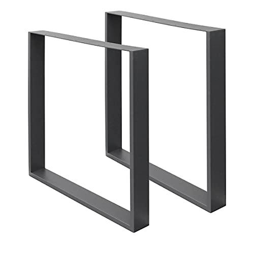 ECD Germany 2x Tischbeine aus Vierkantprofilen, 60 x 72 cm, Dunkelgrau, pulverbeschichtete Stahl,...