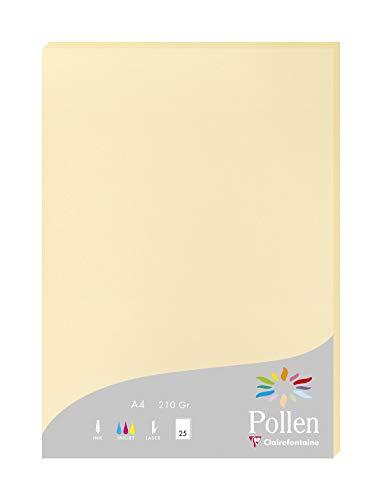 Clairefontaine 24206C Packung mit 25 Karten Pollen 210g, DIN A4, 21 x 29,7cm, Chamois